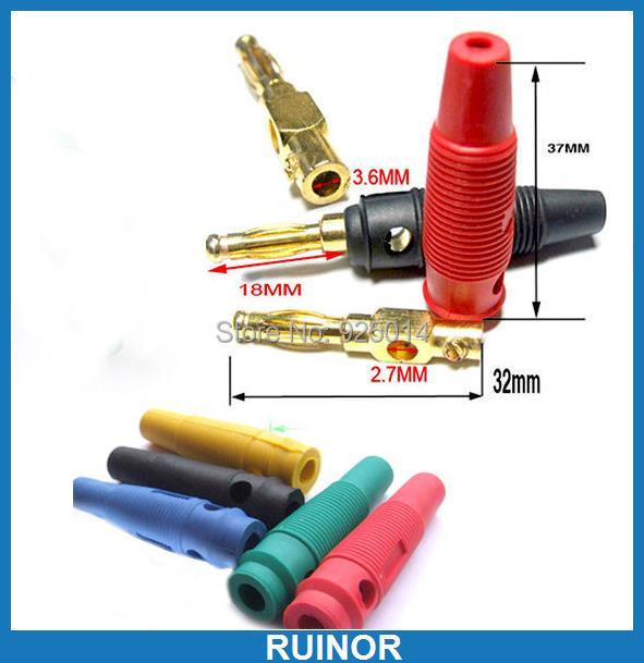50PC 5 Color Gilt Soft silicone 4MM Banana Plug FOR Binding Post JACK Test probe<br>