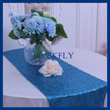 RU002C Nice metalic Aqua blue sequin table runner(China)