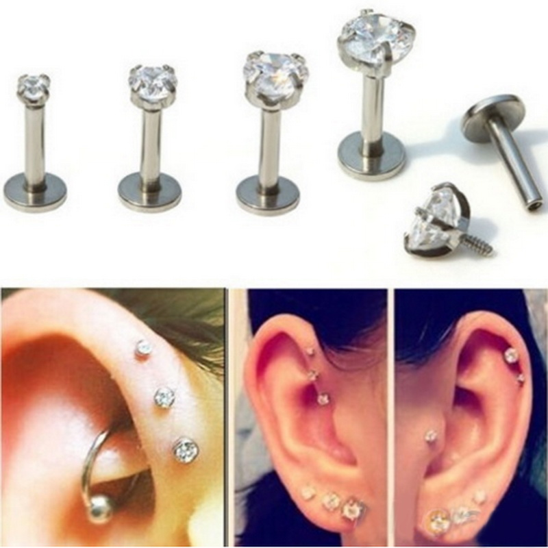 Tragus Earring Stainless Steel Internally Thread Crystal Stone Labret Lip Piercing Stud Ring Body Jewelry Retainers(China)