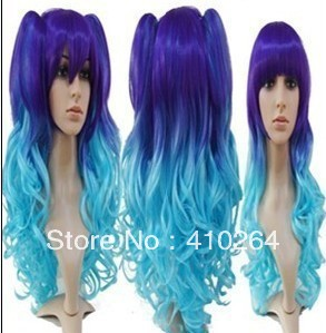 shun free NEW WOMENS purple blue mixed LONG curly Cosplay FULL WIG + two pigtailsAA<br><br>Aliexpress