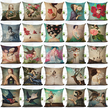 2016  New Arrive Hot Selling Classical Flower Girl Printing Linen Cotton Cushion Cover Throw Pillow Sofa Pillow Cojines
