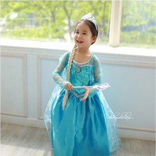 NEW 2017 Elsa Dresses For Girls Cosplay Party Anna Dress Snow Queen Beautiful Chiffon Baby Girls Fantasia Dress Kids Costume(China)