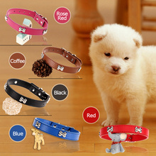 Practical 33-40CM Adjustable Length PU Dog Collar Pet Walking Tool Rose Red For Small Dog Pet Products(China)