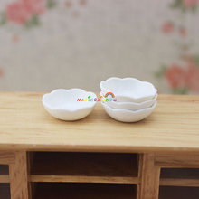 4 x Plates Wave Bowls Kitchen Dining Room Toys White ABS Plastic 1 12 scale Dollhouse Miniatures