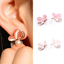 New Fine Jewelry Fashion Cute Ladies Girls Rhinestone Butterfly Earrings EAR-0362
