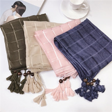 Fashion Women Big Size Long Tassels Autumn Winter Retro Scarf Cotton Solider Color Headband Wraps Brand Plaid Scarves