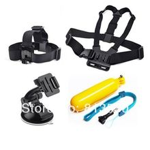 GoPro Accessories.Chest Strap +Head Strap+Suction Cup+Floating Grip for Gopro Hero 4/3+/3/2/1, xiaomi yi sj4000 sj5000 sj6000(China)