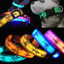 LED Dog Collar Glow Nylon for Dogs Puppy Cats Pet Large Adjustable Night Luminous Collar Pet Supplies pet shop dog acessorios