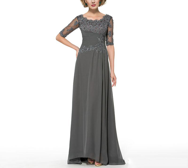 2019 Grey Vintage Chiffon Scoop Neck Pleat Tulle Half Sleeves With Applique Mother Of The Bride Dress Floor-Length Plus Size