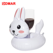 DMAR 3pcs Mini Inflatable Rabbit Drink Holders Pool Float Cup Holder  Swimming Ring Mattress Circle Beach Party Toys Flamingo
