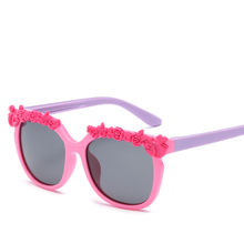 Vazrobe Flower Polarized Kids Sunglasses for Girls Children's Sun Glasses Baby Child Silica Gel Polarizing Goggles Pink Cool