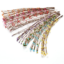40cm Bud Artificial Branches Flower Iron Wire For Wedding Decoration DIY Scrapbooking Decorative Wreath Fake Flowers 10Pcs