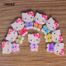 30PCs Wood Sewing Button Scrapbooking Hello Kitty Mixed Two Holes Costura Botones Decorate bottoni botoes 25 x 20mm D133I4(China)