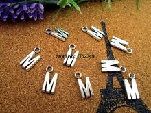 30pcs Alphabet Letter Charms, Antique Silve Alphabet/Letter M 16mm Charms Pendant(China)