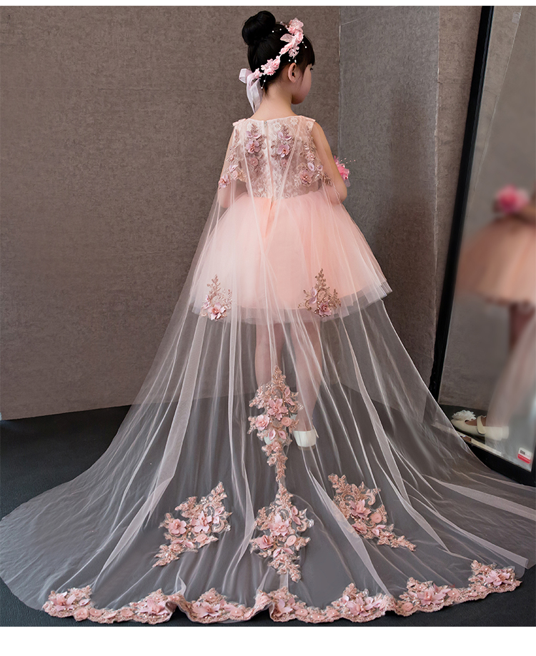 Flower Girl Dresses Glizt Pink Lace Appliques Girls Wedding Gown Trailing Princess Dresses Kids Costume Children Summer Clothes