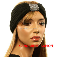 Fashion Crochet Head Wrap With Rhinestone Circle Ear Warmer Muff Knitted Headband