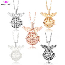 Pryme Jewelry 20.5mm Lucky Angel Wing Ball Essential Necklaces For Women Long Chain Fragrance Necklace Gift NL016 Free Shipping