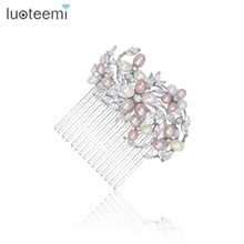 LUOTEEMI Elegant Art Deco Statement Nutural Pearls CZ Flower Wedding Hair Comb Crystal Bridal Hair Piece accessories Bridesmaids(China)