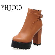 fashion women boots Square heel shoes woman zipper Ankle Spring Autumn Boots sexy platform high heels ladies boots plus size 43