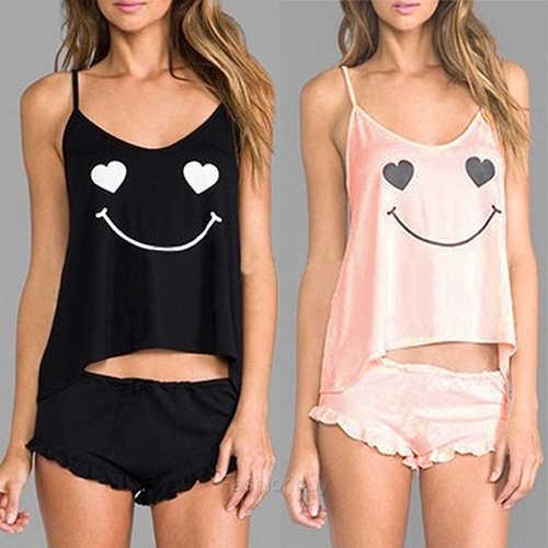 Women Sexy Robe Sleepwear Lingerie Vest Top + Short Pants Smiling Face Pajamas  Set c2f4d09bc