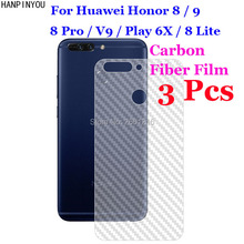 3 Pcs/Lot For Huawei Honor 8 9 Lite Pro V9 Play 6X 3D Non-slip Clear Carbon Fiber Back Film Screen Protector Protective Sticker