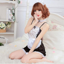 Buy Sexy lingerie women Maid classical Lace sexy miniskirt lolita maid outfit female sexy servant teddy erotic costumes