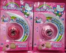New 1 pcs Popular Cartoon Hello kitty the watch has flash light with music For Best Gift