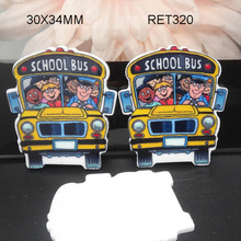 New arrived,50pcs,30x34mm cartoon Back to school planar resin flatback craft school bus resin shrinky RET320