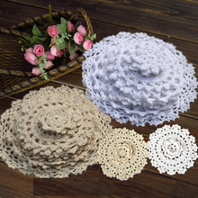 24Pcs 100% Cotton Hand Made Crochet Doilies Cup Mat Pad Coaster 12 Vintage Crochet Motifs 5-18cm White Beige HD044(China)