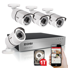 ZOSI 1080P 4CH DVR with 4X 2.0MP HD Outdoor Home Security Video Surveillance Camera System 1TB Hard Drive White(China)