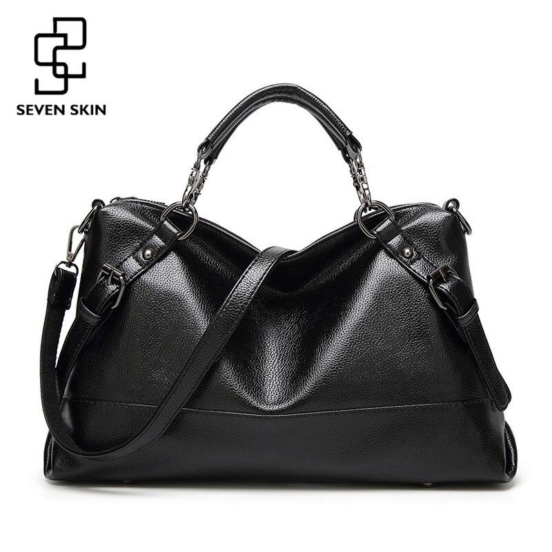 SEVEN SKIN Brand Womens PU Leather Bag Luxury Women Boston Bag Ladies Fashion Designer Handbag Female Tote Bag Shoulder Bags<br>