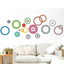 2016 Art Wall Quote Sticker room colorful circles Removable Decor Mural Decals waterproof removable wallpaper