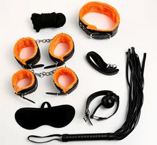 Buy 7PCS/LOT Fetish Sex Products Adult Slave Games Leather Handcuffs Mask Gag SM Erotic Toys BDSM Bondage Set Sex Toys Couples
