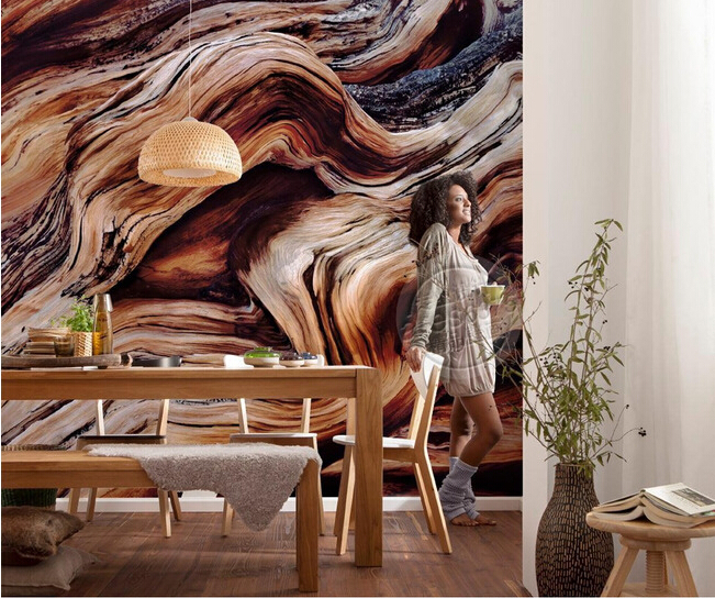 The custom 3D murals,Retro hand-painted luxury solid wood texture  ,living room sofa TV wall bedroom wall paper<br>