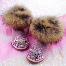 2016 Rhinestones Hello Kitty Super plush Fox Fur Snow Boots Women Ankle Tube Genuine Leather Padded Woman's Shoes Winter Girls
