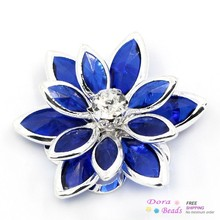 8SEASONS Rhinestone Embellishment Findings Flower silver-color White Darkblue Rhinestone 23x24mm,10PCs (B25313)