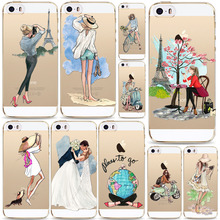 Beautiful Dress Travel Girl Soft Phone Case Cover For iPhone 6 6s 5 5s SE Clear Cover Funda(China)