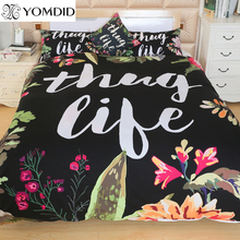 Letter Printing bedding set digital printing bedcloth quilt cover/sheet pillowcase Valentines Present flower pattern bed Linens(China)