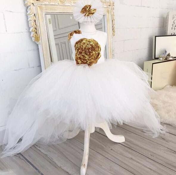 Puffy White tulle high low flower girl dress bling golden sequins floral little kid birthday evening party gown with headpiece