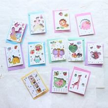 cute animal cartoon colorful children birthday decoration card invitation message paper card