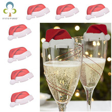 20pcs/lot Wholesale Christmas Decorations Santa Hats Paperboard Champagne Wine Glass Decor Paperboard Noel Decoration GYH(China)