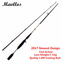 Mavllos Newest M Hard Ultra Light Carbon 1.8m Casting Fishing Rod 2 Section Portable Lure Weight 7-22g Fishing Casting Rod Pole
