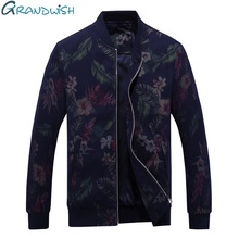 Grandwish Spring & Autumn Men Jacket Flower Printed Mens Jacket Plus Size 4XL Stand Collar Men's Jacket Casual Floral , DA130