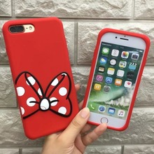 High Quality 3D Red Mickey bow White fingerprint Soft Silicone Rubber phone case cover shell for iPhone 7 7Plus 6 6s 6Plus cheap