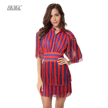 Buy BKMGC Striped Red Blue Patchwork Tassel Fashion Short Sleeves 2018 Women Celebrity Fringe New Sexy Knee Dresses Vestidos for $25.66 in AliExpress store