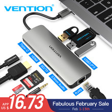 Vention USB-C концентратора Тип C концентратор USB 3,0 Thunderbolt 3 HDMI 3,5 мм аудио RJ45 адаптер для MacBook Pro samsung Galaxy S9 USB C концентратора(China)