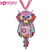 Bonsny Owl Necklace Acrylic Chain Pattern Bird Pendant Original Design Fashion Jewelry For Women 2015 News  Brand Accessories
