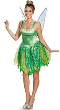 Adult Halloween Party Costumes Flower Fairy Tinker Bell for Women Elf Tinkerbell Princess Dress Costume with Wing