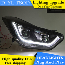 Car Styling for Hyundai Elantra Headlights 2012-2015 Elantra LED Headlight DRL Bi Xenon Lens High Low Beam Parking HID Fog Lamp(China)