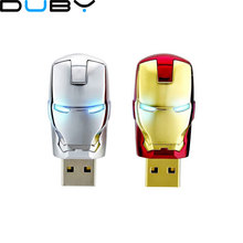 Special offer pen drive 4gb 8gb 16gb 32gb 64gb Metal Iron man USB memory flash card+ LED light flash drive Superman pendrives(China)